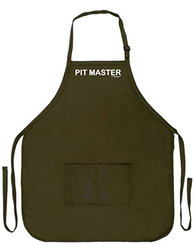 Pit Master Funny Apron Kitchen BBQ Barbecue Tailgate Cooking Bacon Two Pocket Apron Tailgating BBQ Grill Competition Military Olive Green