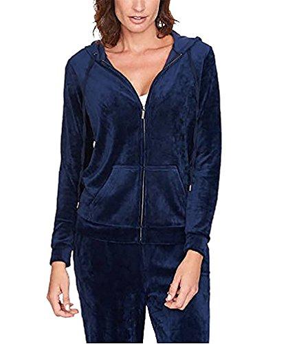 Long Sleeve Velour Jacket - Gloria Vanderbilt Womens Ellie Velour Hoodie Jacket, Large, Sapphire Navy