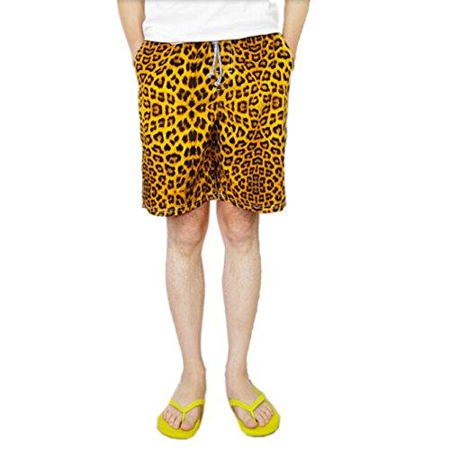 JF-Sunshine Men's Quick Dry Breathable Leopard Print Swim Trunk MS32 (XXL(Waist (Leopard Print Swim Trunks)