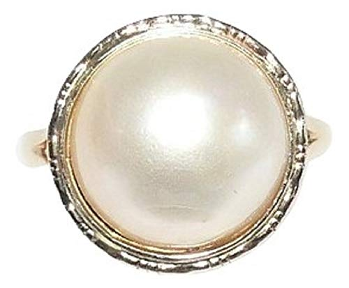 Vics Fine Jewelry Mabe White 12.2 mm Pearl Ring with 14k Yellow Gold ()
