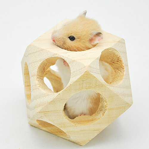 Niteangel Wooden Interactive Toy Ball for Small Animals, Chew toy for Hamsters, Guinea pigs and Rabbits