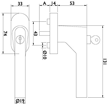 Fenstergriff Edelstahl abschlie/ßbar Fensterolive L-Form Edelstahl matt geb/ürstet Baubeschl/äge von GedoTec/® Drehkipp-Rasterolive mit Schlie/ßzylinder