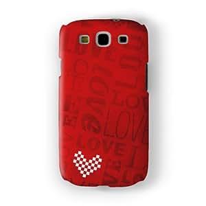 White Heart on Red Love Typography Pattern Funda Completa de Alta Calidad con Impresión 3D, Snap-On, Diseño Negro Formato Duro parar Samsung® Galaxy S3 de UltraCases