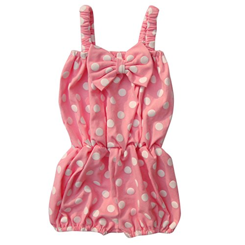 [Unique Baby Girls Polka Dot Romper 1-2 Years Light Pink] (Vintage Paisley Print Costumes)