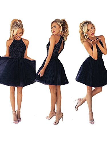 Ubridal Short Beading Keyhole Back Tulle Homecoming Dresses Prom Gowns navy 4
