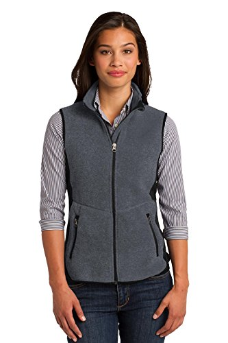 Port Authority Ladies R-Tek Pro Fleece Full-Zip Vest. L228 Charcoal Heather/