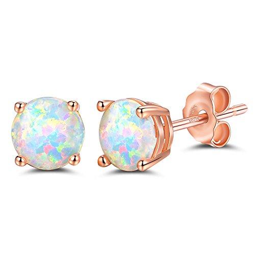 FOOZOU Rose Gold Opal Stud Earrings for Women
