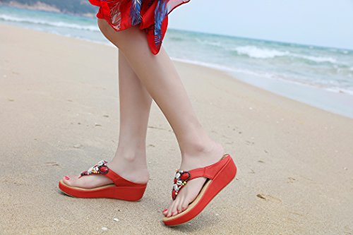 Ruiren Women Bohemian Beeded Wedge Sandals,Summer Beach Flip-Flops Shoes for Ladies Red