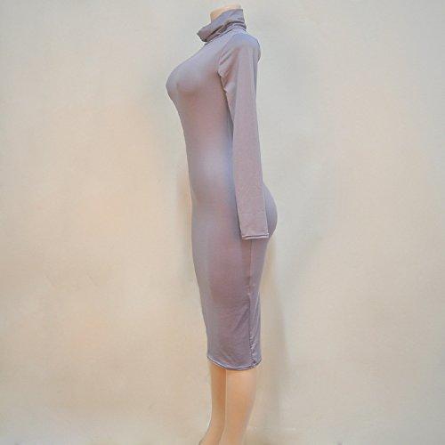 Vestiti Lunga Colore Forti Dress Al Ragazza Donna Mini Alto Eleganti Slinky Collo Inverno Grigio Manica Tubino Abiti Camicia Ginocchio Taglie Autunno Matita Puro Vestito Abito rBTrw7qn