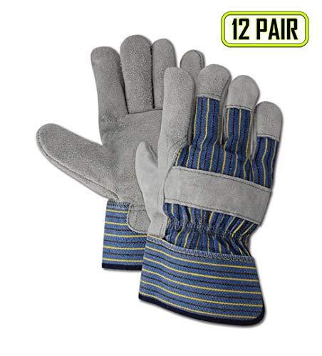 Magid Glove & Safety TB655EJJ Magid DuraMaster Gunn Cut Split Leather Palm Gloves, Gray, XXL (Pack of 12)