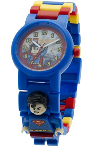 Boys Acrylic Watch (LEGO DC Comics Super Heroes Superman Kids Minifigure Link Buildable Watch | blue/red | plastic | 28mm case diameter| analog quartz | boy girl | official)