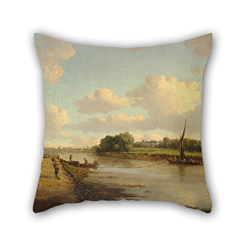 (Pillow Cases Of Oil Painting William Marlow - View On The River Thames At Richmond,for Seat,bar,family,study Room,kids Room,car Seat 20 X 20 Inch / 50 By 50 Cm(twice)