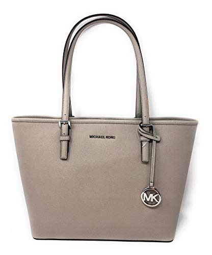 (Michael Kors Jet Set Travel Medium Carryall Saffiano Leather Tote Bag in Cement)
