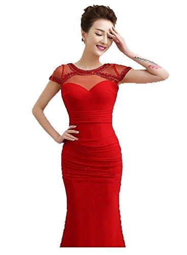 Beauty Kurzarm Meerjungfrau Transparent Strass V Abendkleid Rot Lang Zurück Emily RURAa