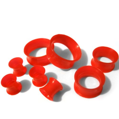 Pair of 7/8 Gauge (22mm) Red Silicone Flexible Thin Ear Skins Plugs Tunnels (SIL012) ()