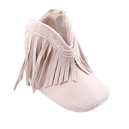 Fheaven Toddler Infant Newborn Baby Girl Shoes Soft Sole Boots Prewalker Tassel (US:2.5( Age:0~6 Month), Beige)
