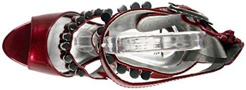Talon Abs Moulé Squelette Avec Rivets Spike En Plate-forme Bordeaux