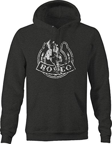 Distressed - Rodeo Horseshoe Lucky Bucking Bronco Cowboy Sweatshirt - XLarge (Plain Bronco Horseshoe)