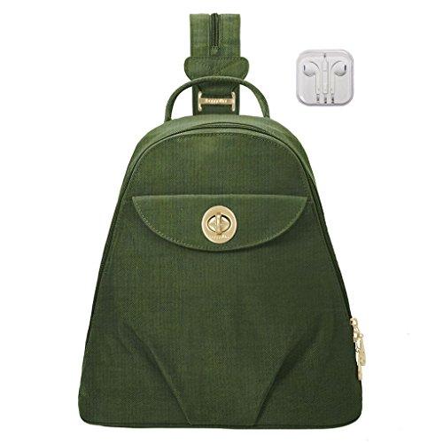 Baggallini Dallas Convertible Sling Backpack Bundle Complimentary Travel Earphones (Juniper)