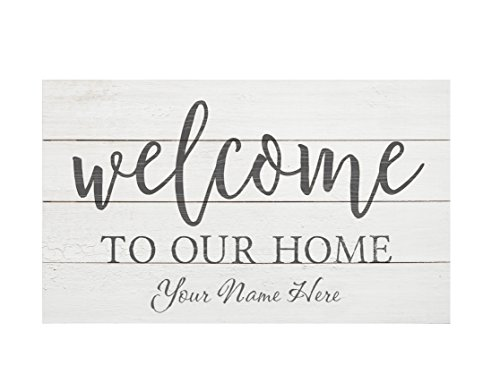 P. GRAHAM DUNN Welcome to Our Home 14 x 24 Distressed Pallet Wood Style Customized Wall Plaque (Home For Signs Wall Personalized)