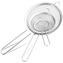 Fine Mesh Stainless Steel Strainer – Set of 3 – Professional Sieve – Best for Home Cooking Use – 5 Free Recipes eBooks – 100% Life Time Guarantee