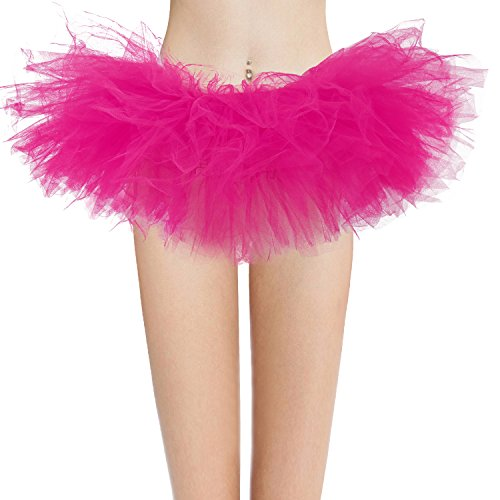 Dresstore Women's Vintage 5 Layered Tulle Tutu Puffy Ballet Bubble Skirt Fuchsia Regular Size