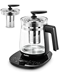 ICOOKPOT Multi-Use Electric Kettle Borosilicate Glass Tea Maker and Programmable Control Panel Base, Includes Filter, Egg Cooker and Yogurt Box, Keep Warm Function Water Pot Kettle