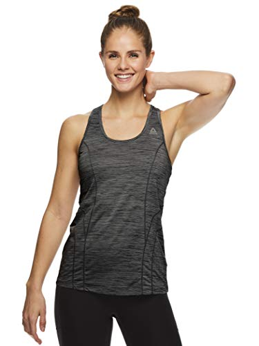 (Reebok Women's Dynamic Fitted Performance Racerback Tank Top - Black Heather New Age, Large)
