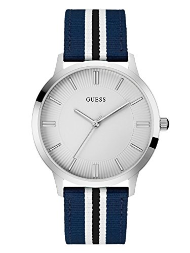GUESS-Blue-and-Silver-Tone-Striped-Watch