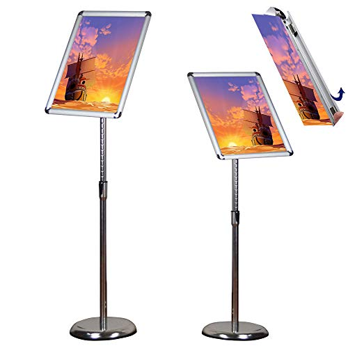 Standing Sign Holders - Egeen Adjustable Pedestal Poster Stand Floor Standing Poster Holder Notice Stand Sign Holder for Display/Advertisement, Vertical and Horizontal View Sign Display(Silver, 11 x 17 inches)