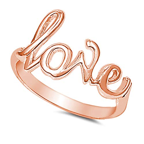 (CloseoutWarehouse Sterling Silver Rose Gold-Tone Plated Love in Script Ring Size 9)