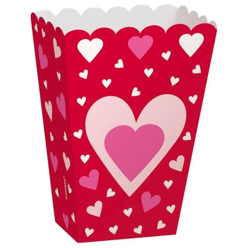 Heart Valentine's Day Popcorn Treat Boxes, (Valentine's Day Box Ideas For School)