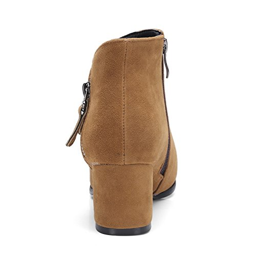 Toe Womens Urethane Zip Boots Fashion Ground Manmade MNS02468 Bootie Nubuck Boots Brown Closed 1TO9 Firm wt4dPqt