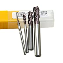 Wokesi 1/16'' 1/8'' 1/4'' 5/16'' Cutting Dia,Pack of 4,4 Flute,HRC55,TiAlN Coated,Solid Carbide,Square Nose End Mill,CNC Router Bits Cutting Milling Tools (1/16''+1/8''+1/4''+5/16'' HRC55)