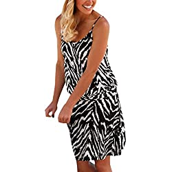 Kangmoon Women Casual Dress Women Halter Neck Boho Print Sleeveless Casual Mini Beachwear Dress Sundress