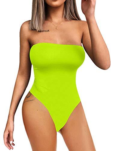 YMDUCH Women's Sexy Strapless Bodysuit One Piece Triangle Off Shoulder Leotard Fluo Green]()