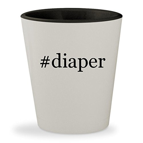 #diaper - Hashtag White Outer & Black Inner Ceramic 1.5oz Shot - Glasses Jessica Alba