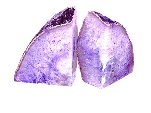Zentron Crystal Collection: Large Pair of Polished Purple Agate Bookends (2-6 Pounds) -