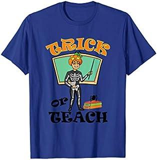 Trick Or Teach Pumpkin Skeleton Gift Pumpkin Halloween Teach T-shirt | Size S - 5XL