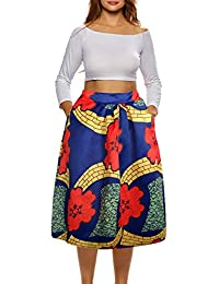 African Print Skirts for Women Boho Plus Size Flare...