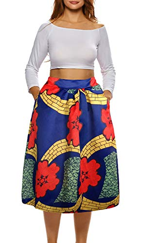 Afibi African Print Skirts for Women Boho Plus Size Flare Pleated Skirts (X-Large, Picture 4)