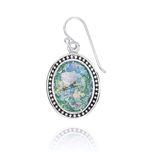 925 Sterling Silver Earring with Genuine Roman Glass Stone (Roman Glass Stone)