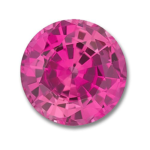 6.5mm Round Gem Quality Chatham Lab-Grown Pink Sapphire Weighs 1.35-1.60 Ct.