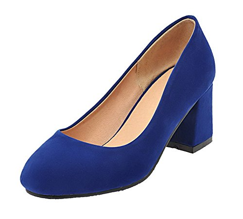 Allhqfashion Dames Frosted Kitten-hakken Ronde Neus Stevige Instap Pumps-schoenen Blauw