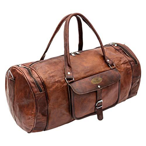 9298ffd6fbc9 Natural Leather Bag Mens Handmade Duffel Luggage Bag