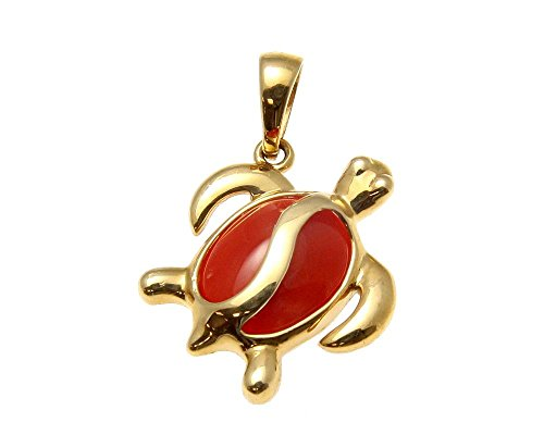 (Arthur's Jewelry Genuine natural red coral solid 14k yellow gold Hawaiian honu turtle pendant)