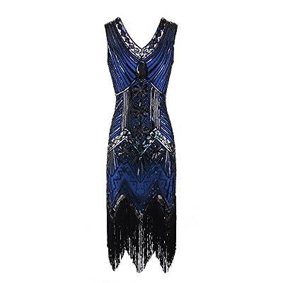 FDelinK Women Flapper Dress 1920s Gatsby Art Deco Fringed V Neck Tassel Sequin Cocktail Dress
