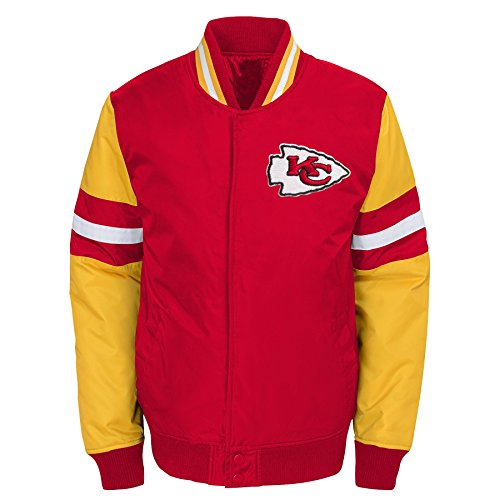 (Outerstuff NFL Kansas City Chiefs Youth Boys Legendary Color Blocked Varsity Jacket Red, Youth X-Large(18))