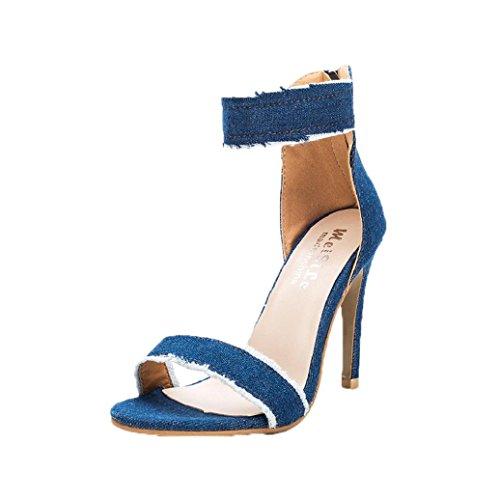 Sandali Con Tacco Alto Da Donna High-heeled In Pelle Con Tacco A Spillo E Tacco Alto Blu Chiaro