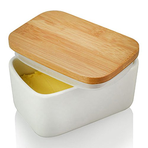 Butter Dish with Bamboo Lid, White Porcelain Butter Keeper Butter Container Food Storage Candy Box, Heat Resistant to 900 Degree as Baking Dish Baker, Family or Friends Gift(300ml)
